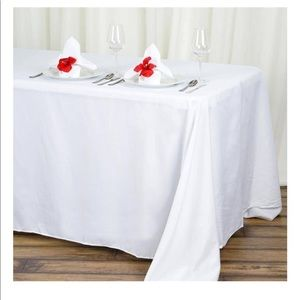 """90x132"""" Polyester white Rectangle Tablecloths"""